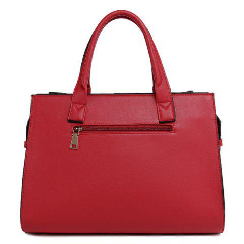 Cheap PU Leather Bow Zipper Tote Bag - RED  Mobile
