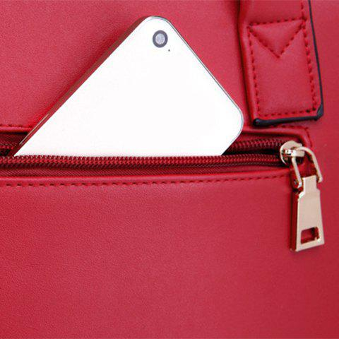 Latest PU Leather Bow Zipper Tote Bag - RED  Mobile