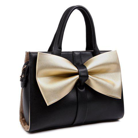 Affordable Color Block Bowknot PU Leather Tote Bag BLACK/GOLDEN
