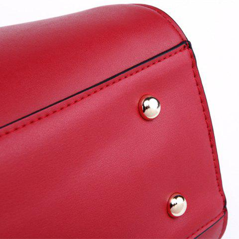 Sale Color Block Bowknot PU Leather Tote Bag - RED WITH BLACK  Mobile