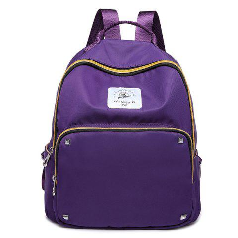 Shop Zippers Rivets Nylon Backpack - PURPLE  Mobile