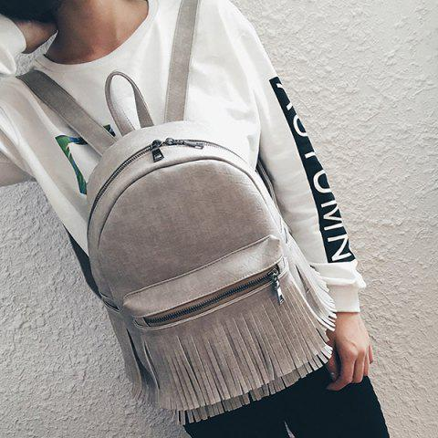 Outfit Zippers Fringe PU Leather Backpack GRAY