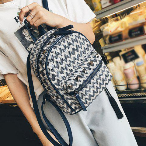 Color Block Zigzag Pattern Rivets Backpack - Purplish Blue