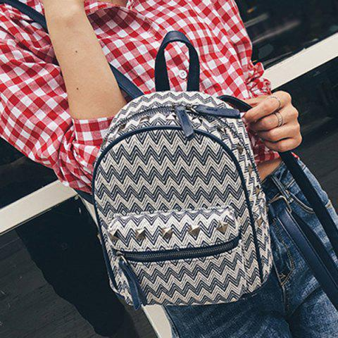 New Color Block Zigzag Pattern Rivets Backpack - PURPLISH BLUE  Mobile