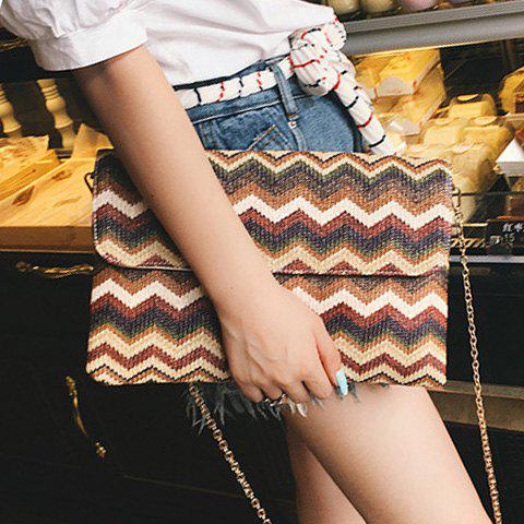 Fancy Color Splicing Zigzag Pattern Chain Clutch Bag