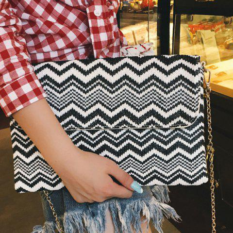 Store Color Splicing Zigzag Pattern Chain Clutch Bag