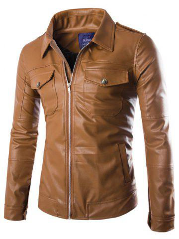 Online Turn-Down Collar Pockets Design Zip-Up PU-Leather Jacket