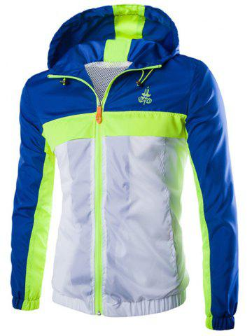 Hot Color Block Splicing Hooded Zip-Up Polyester Jacket