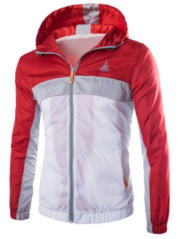 Trendy Color Block Splicing Hooded Zip-Up Polyester Jacket