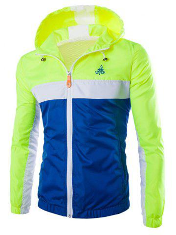 Fancy Color Block Splicing Hooded Zip-Up Polyester Jacket - 2XL NEON GREEN Mobile