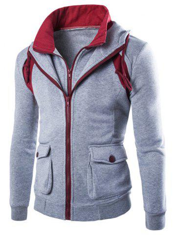 Shop Faux Twinset Hooded Pockets Design Double Zip-Up Jacket - L LIGHT GRAY Mobile