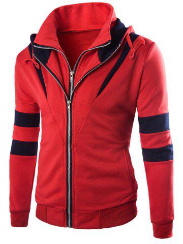 Trendy Faux Twinset Hooded Varsity Stripe Double Zip-Up Jacket RED 2XL