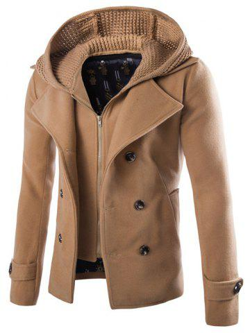 Buy Detachable Knitting Hooded Double-Breasted Zip-Up Woolen Coat CAMEL 2XL