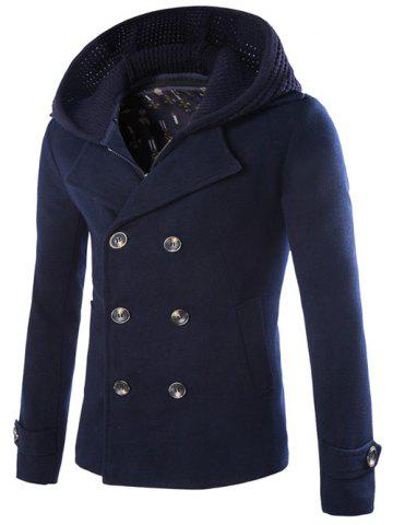 Detachable Knitting Hooded Double-Breasted Zip-Up Woolen Coat - Cadetblue - M
