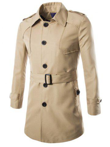 Hot Turn-Down Collar Epaulet Design Lengthen Single-Breasted Coat KHAKI XL