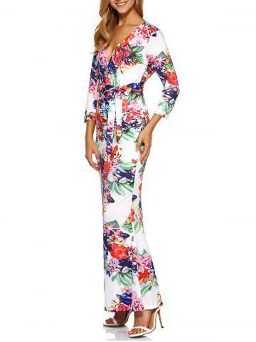 Hot Print Belted Floral Bodycon Maxi Formal Dress With Sleeves
