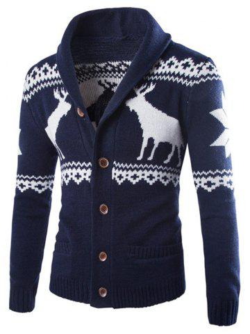 Affordable Turn-Down Collar Ethnic Style Elk Print Single-Breasted Cardigan CADETBLUE 2XL
