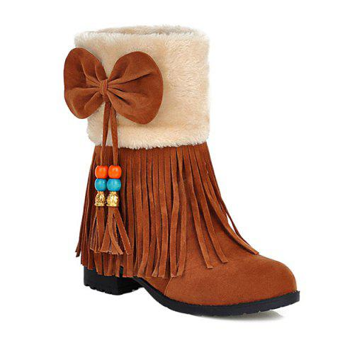 New Bow Tassels Beading Boots BROWN 39