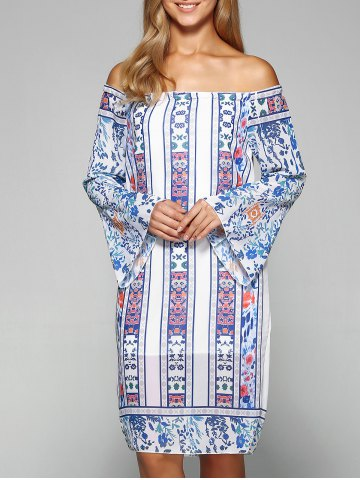 Buy Bell Sleeve Off The Shoulder Printed Dress