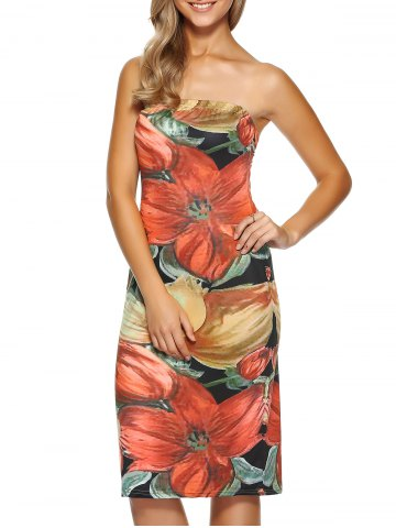 Chic Skinny Strapless Print Dress