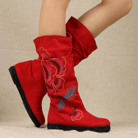 Discount Canvas Embroidered Mid-Calf Boots