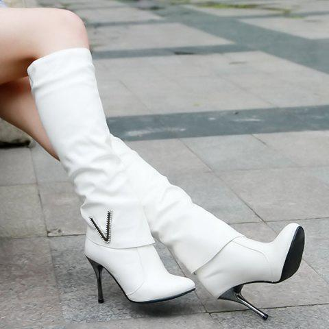 New Ruched Stiletto Heel Pointed Toe Knee-High Boots