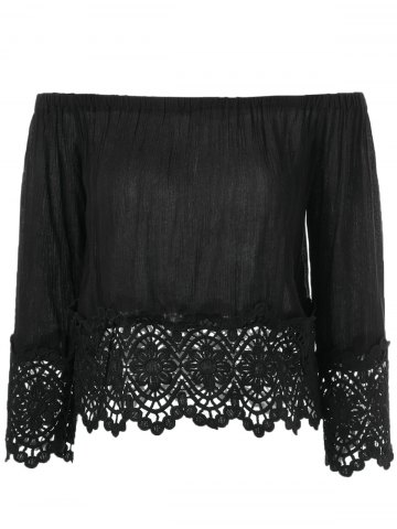 Sale Lace Off-The-Shoulder Crochet Blouse