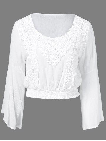 Affordable Lace ScoopNeckBell Sleeve Blouse