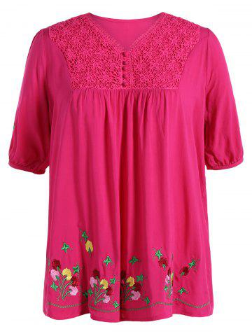 Outfits Plus Size V Neck Flower Mexican Embroidered Blouse ROSE MADDER 3XL