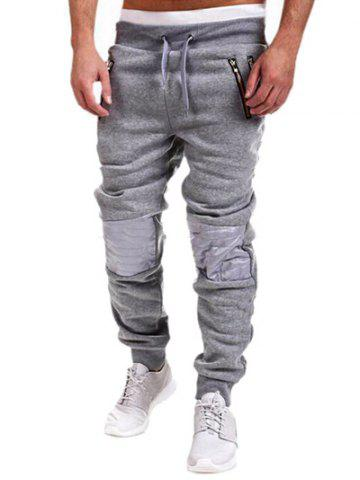 Fancy Zippered Insert Drawstring Jogger Pants - L GRAY Mobile