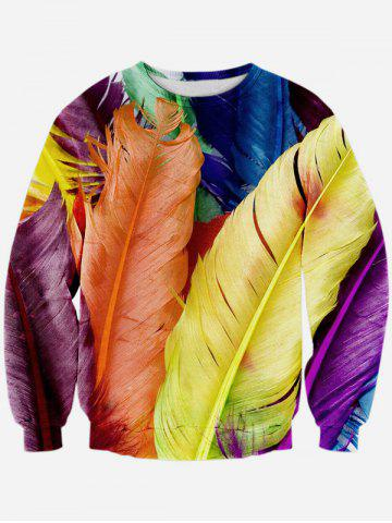 Chic Colorful Feather 3D Print Long Sleeve Crew Neck Sweatshirt COLORMIX L