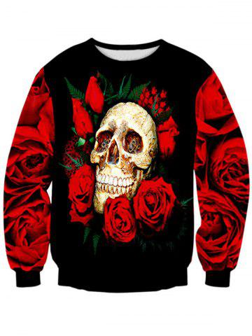 Trendy Rose Skull 3D Print Long Sleeve Crew Neck Sweatshirt RED + BLACK L