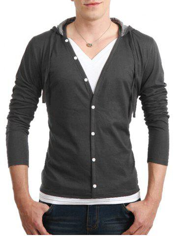 Best Long Sleeve Button Up Drawstring Hooded T-Shirt