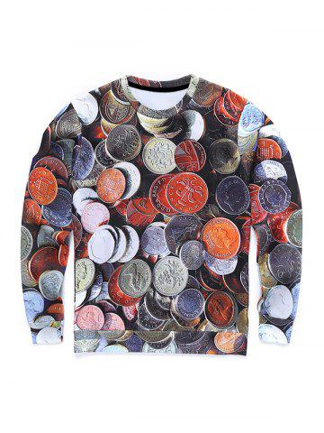 Shops Round Neck 3D Coins Print Long Sleeve Sweatshirt