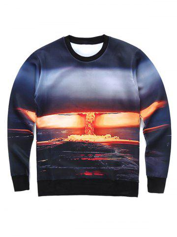 Affordable Round Neck 3D Bomb Scene Print Long Sleeve Sweatshirt