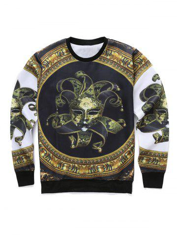 Outfits Round Neck 3D Mask Print Long Sleeve Sweatshirt