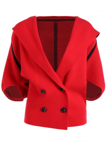 Store Hooded Buttoned Batwing Sleeve Jacket