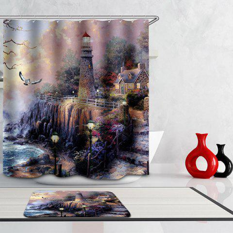 Trendy Waterproof Mouldproof Lighthouse Printed Shower Curtain COLORMIX