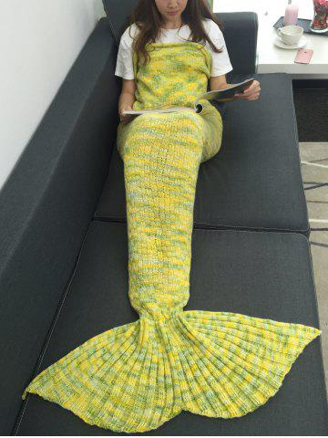 Cheap Warmth Acrylic Knitted Multi-Colored Mermaid Tail Blanket YELLOW W31.50INCH*L70.70INCH