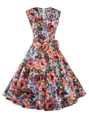 Trendy Sweetheart Neck Bowknot Floral Print Dress COLORMIX 2XL
