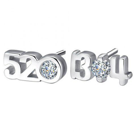 Best Pair of Rhinestone Number Stud Earrings