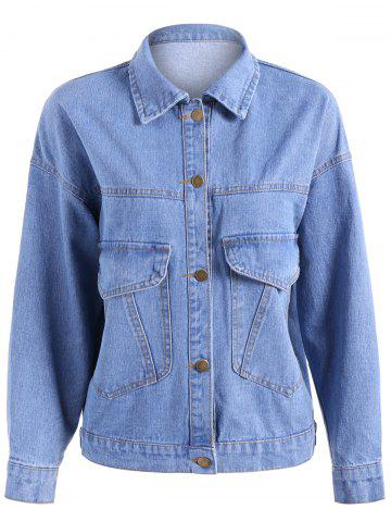 Outfits Pocket Design Oversized Denim Jacket