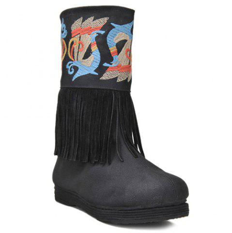 New Fringe Embroidered Boots