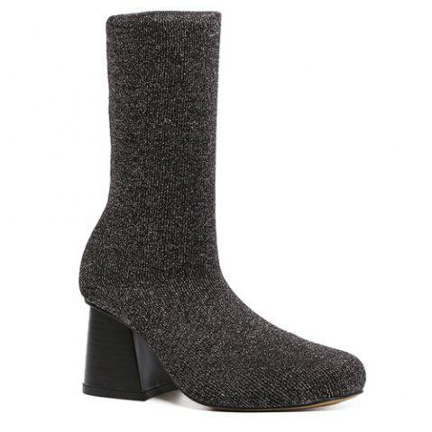 Cheap Square Toe Chunky Heel Sequined Sock Boots