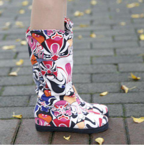 Unique Opera Mask Print Mid-Calf Boots