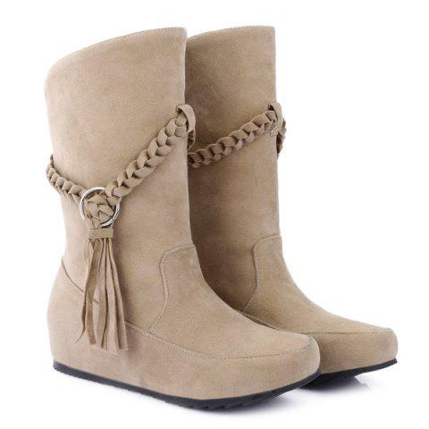 Fashion Suede Braid Fringe Mid-Calf Boots APRICOT 41