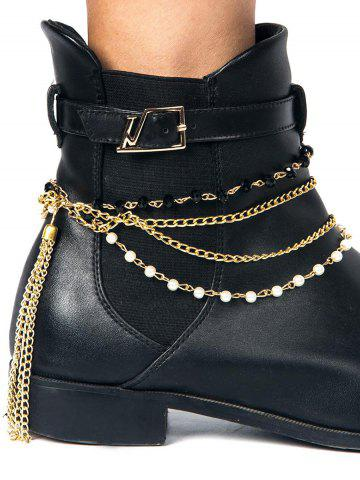 Perlé Tassel Layered Boot Anklet