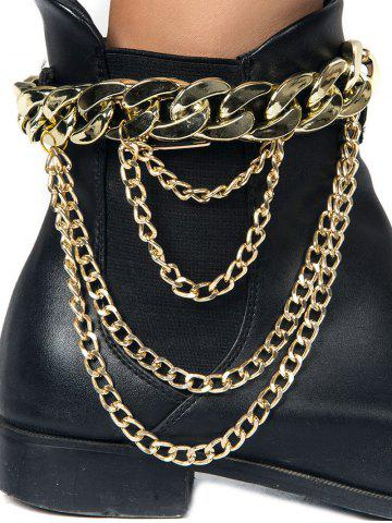 Unique Chain Chunky Style Layered Boot Anket GOLDEN
