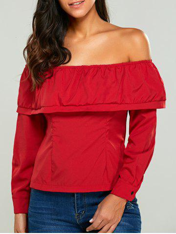 Latest Long Sleeves Button Back Off The Shoulder Blouse