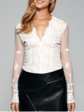 Cheap See-Through Back Long Sleeve Lace Top